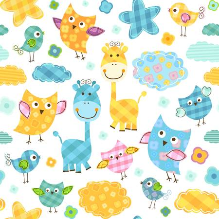 cute happy birds & giraffes seamless pattern