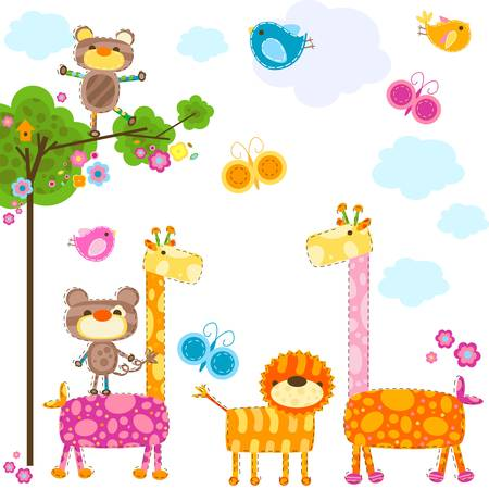cute animals background for cards Stock Vector - 17659859