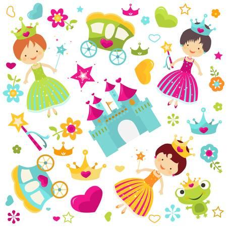 girl magic wand: little princess set for girls Illustration