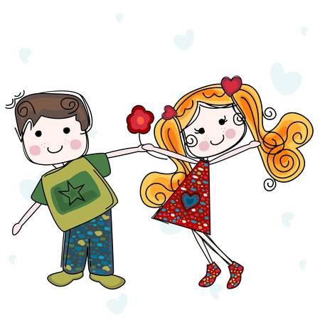 inlove: be my valentine card with girl and boy Illustration