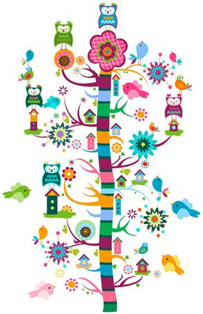 whimsy garden with birds and tree  Vector