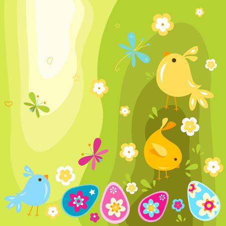 easter chicks and eggs design Vector