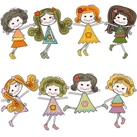 teenage girl dress: girls having fun, colorful set of 8 characters Illustration