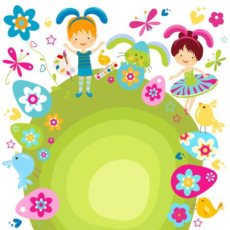 boy and girl in bunny costume celebrating easter Stock Vector - 17659861