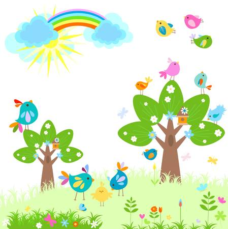 bright spring with rainbow Vector