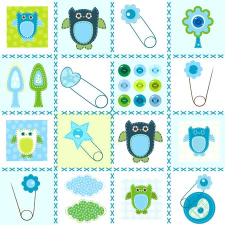 baby boy, background in stitched textile style Vector