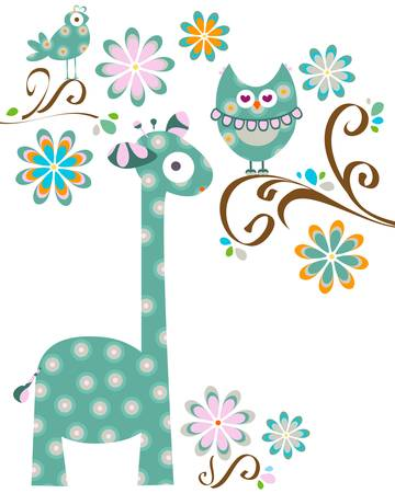 owl and giraffe Vector
