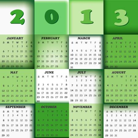 2013 calendar; vector design with squares in background Stock Vector - 17659900