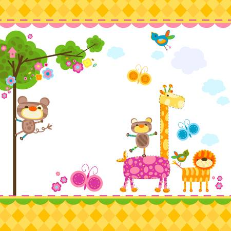 monkey illustration: animales lindo fondo para las tarjetas