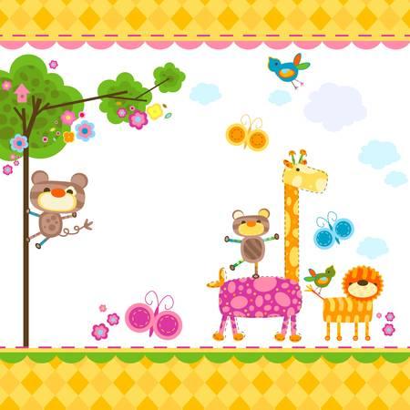 b�b� singe: cute background animaux pour les cartes