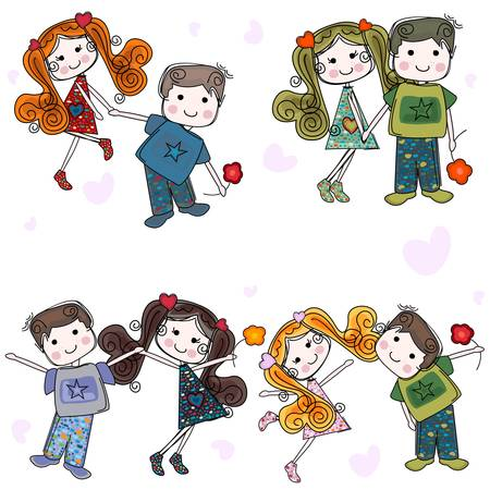 valentine couples, cute girls and boys Stock Vector - 17840942