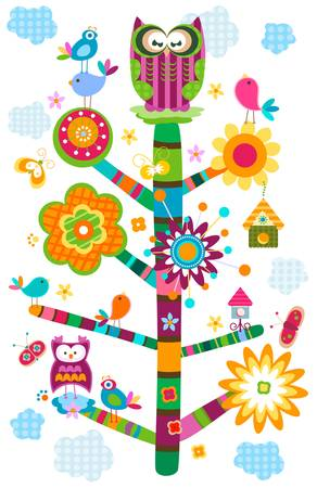 colorful owl`s tree in bloom  Vector