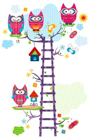 whimsy: colorful owl`s tree in bloom  Illustration