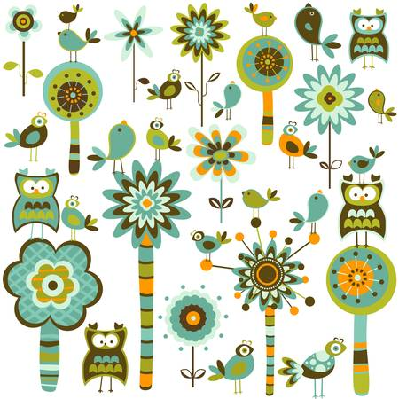 whimsy forest with flower trees and birds Vector