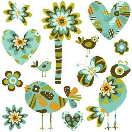 whimsy: whimsy elements; birds, flowers & hearts set Illustration