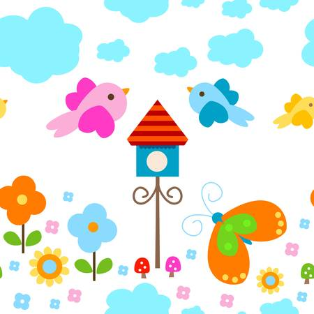 birdies: colorful seamless background for kids