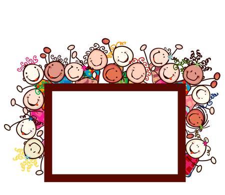 cute border: bambini felici con volti sorridenti