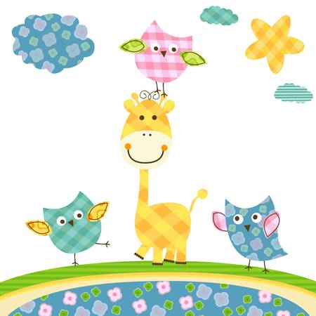 whimsy: cute happy owls & giraffe  Illustration