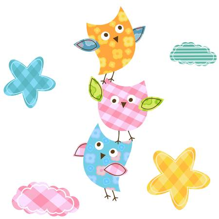 whimsy: cute happy owls Illustration