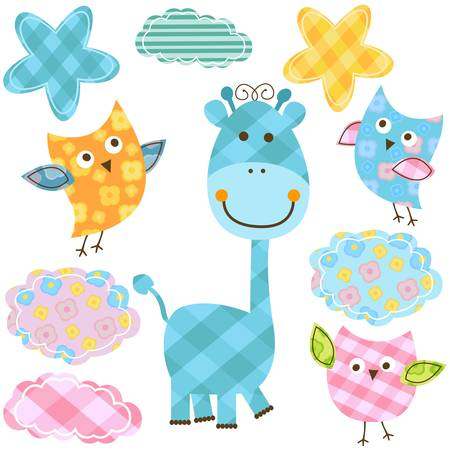 cute happy owls & giraffe  Vector