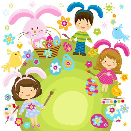 children painting the easter eggs  Vector