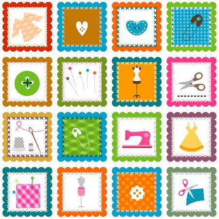sewing pattern:  sewing elements background