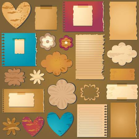 vintage style textured design elements for scrapbooking Vector