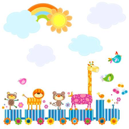 zoo train carrying happy animals in a sunny day Ilustracja