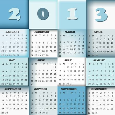 2013 calendar; vector design with squares in background Stock Vector - 17840989