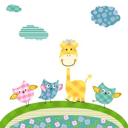 birdies: cute happy owls & giraffe  Illustration