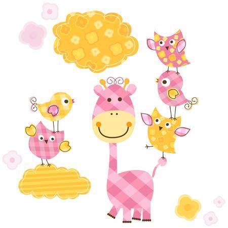 sweet baby girl: cute happy birds & giraffe set for baby girl