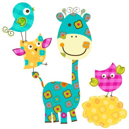 cute happy birds & giraffe Ilustracja