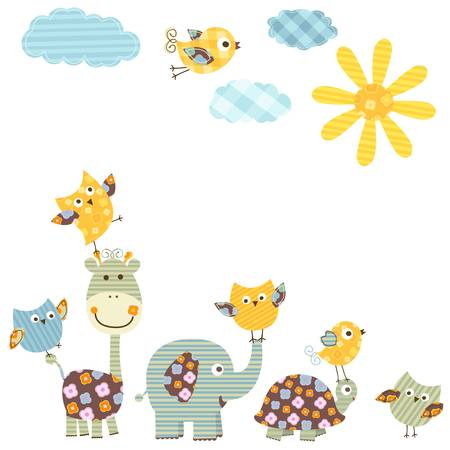 cute happy animals Vector