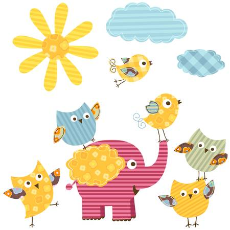 birdies: cute happy birds & elephant