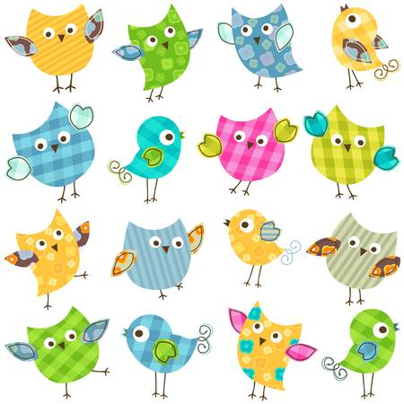 cute colorful happy birds set Ilustracja