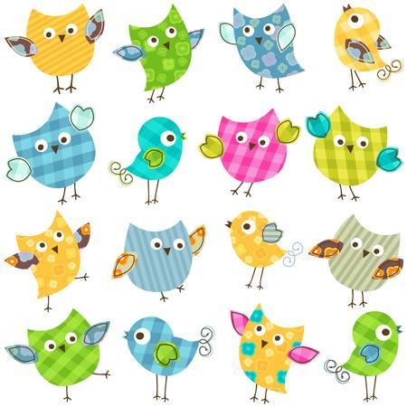 cute colorful happy birds set Illustration