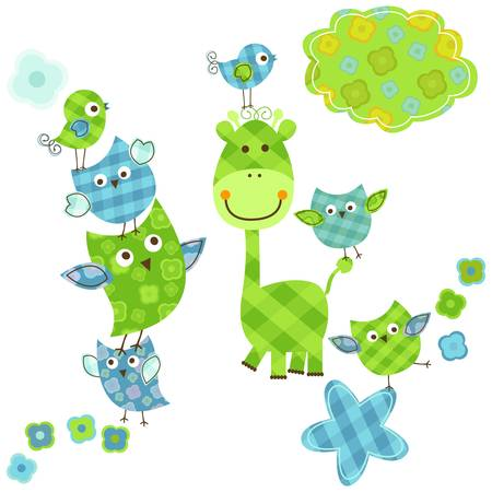 birdies: cute happy birds & giraffe set for baby boy