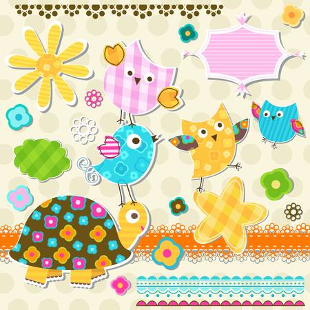 cute turtle and birds scrapbook template Vector