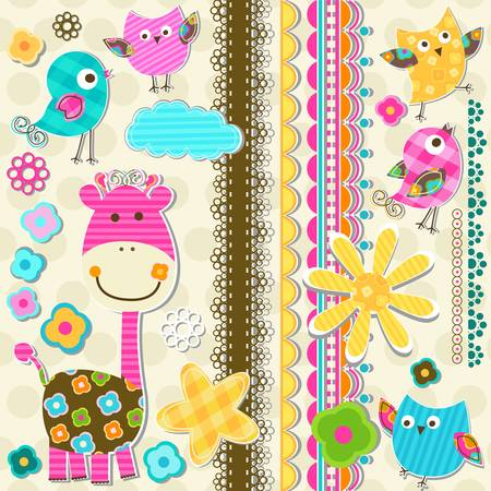 cute giraffe and birds scrapbook elements Vector
