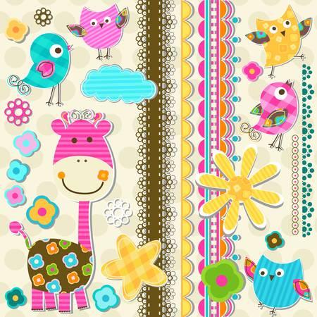 bordure de page: mignon girafe et les oiseaux éléments de scrapbook Illustration