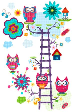 hoot: colorful owl s tree in bloom  Illustration