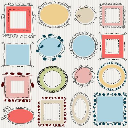 simple swirl doodle frames pack Vector