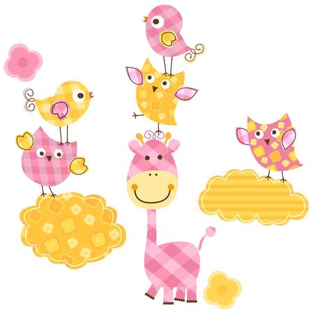 lindo pájaros felices conjunto jirafa para el bebé