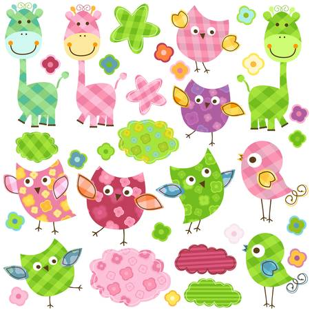 cute happy birds   giraffes set for babies Vector