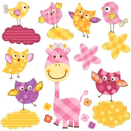 cute happy birds   giraffe set for baby girl