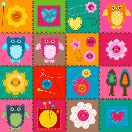 stitch owls on a colorful background for babies  Vector