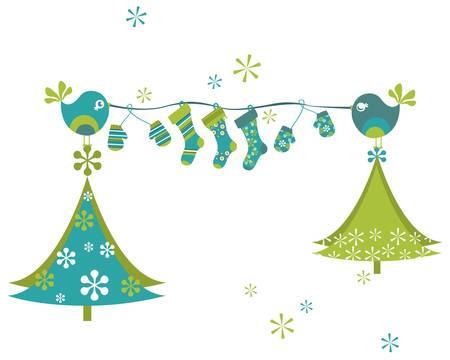 stockings: christmas birds waiting for santa