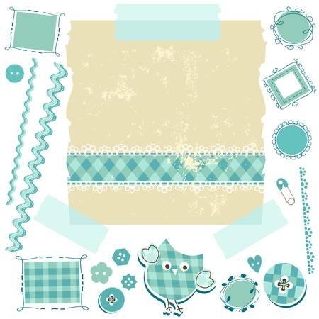スクラップブッキング: かわいい要素を持つ青いスクラップ ブックのキット  イラスト・ベクター素材