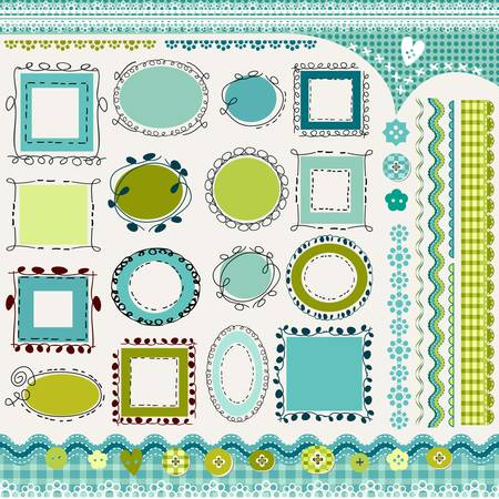 borders and doodled frames pack Vector