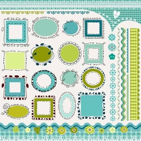 invitacion baby shower: fronteras y el paquete de marcos doodled Vectores